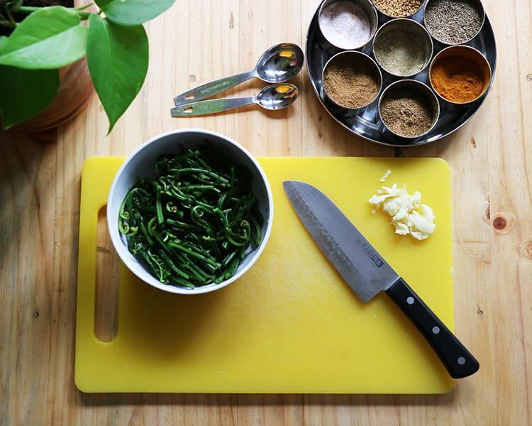 Fiddle head fern ingredients already prepped